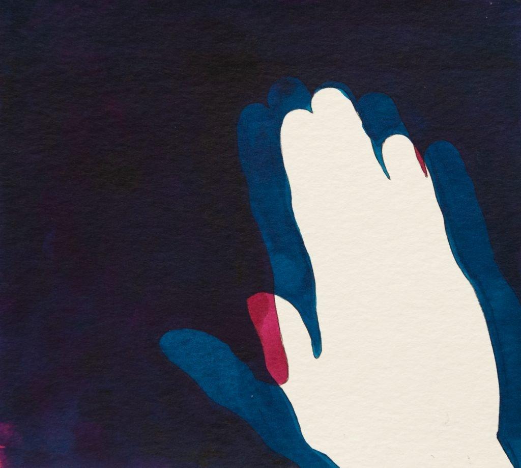 Elisabeth Schuhmann, Magenta Turquois (Altamira), 2018, Tinte auf Papier, 19 x 21 cm