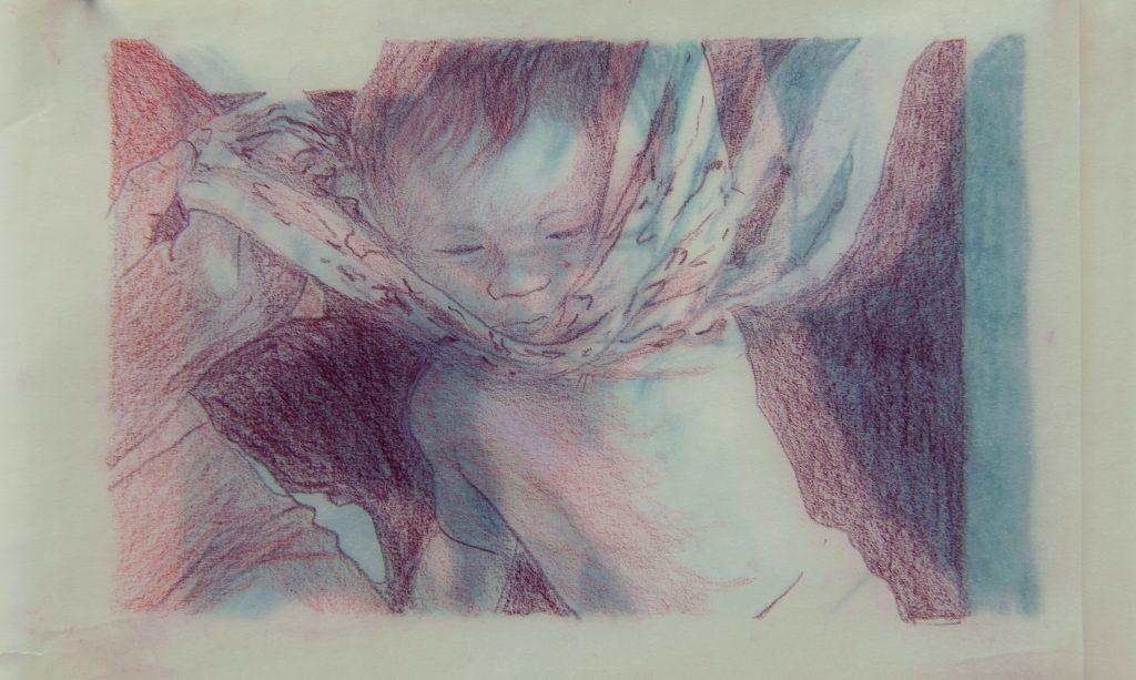 Elisabeth Schuhmann, o.T. (Studie), 2019, Buntstift auf Papier, 10,5 x 15,5 cm