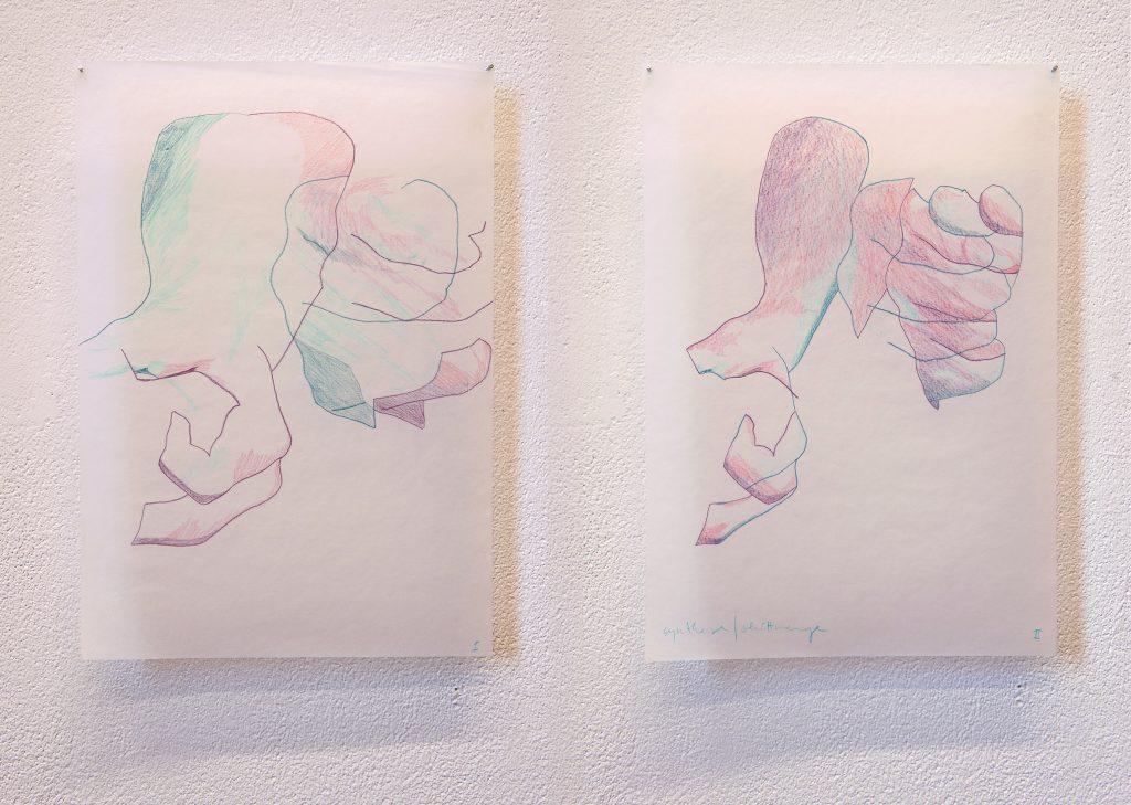 Elisabeth Schuhmann, Synthese I+II (Studien), 2019, Buntstift auf Papier, 41,8 x 29,6 cm