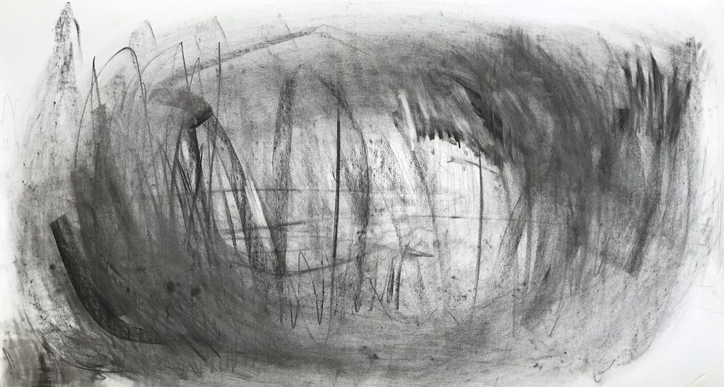 Meng-Hsuan Chin, Sunset, pencil, charcoal on paper, 80x150cm, 2019
