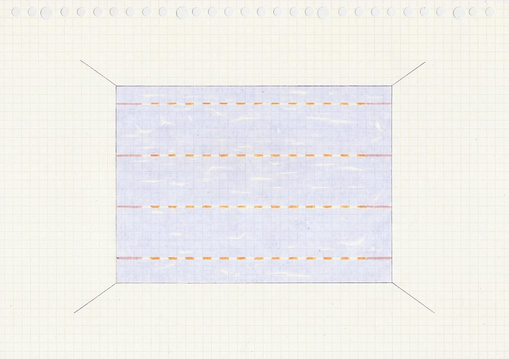 Paula Niño, Thinking inside the box, 2020, Buntstift auf Papier, DIN A4