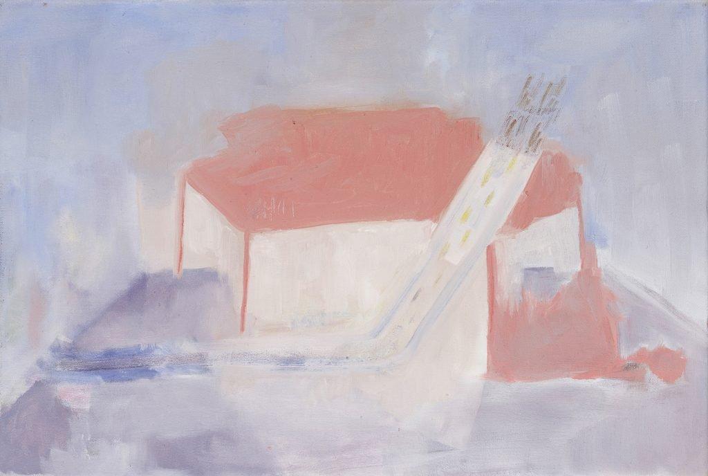 Paula Niño, Rain Room, 2020, Öl auf Leinwand, 34*46 cm
