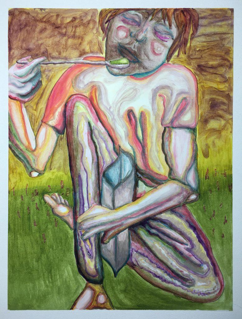 Bonnie Posch, Orale Fixierung, 2020, Öl auf Papier, 29,7 x 42 cm
