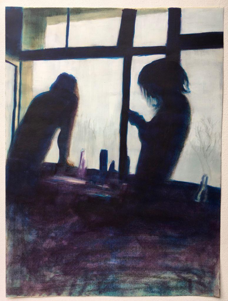 Bonnie Posch, Winter, 2021, Öl auf Papier, 29,7 x 40 cm