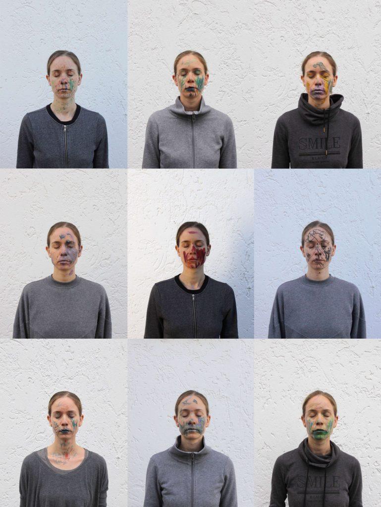 Dorina Csiszár, Selbstportraits mit Kinderzeichnungen, 2020, 10 x Fotos auf Papier, je 25,5 x 34 cm