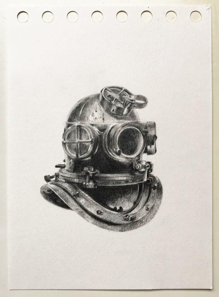Dorina Csiszár, Szkafander 1, 2020, Bleistift auf Papier, 10,5 x 14,7 cm