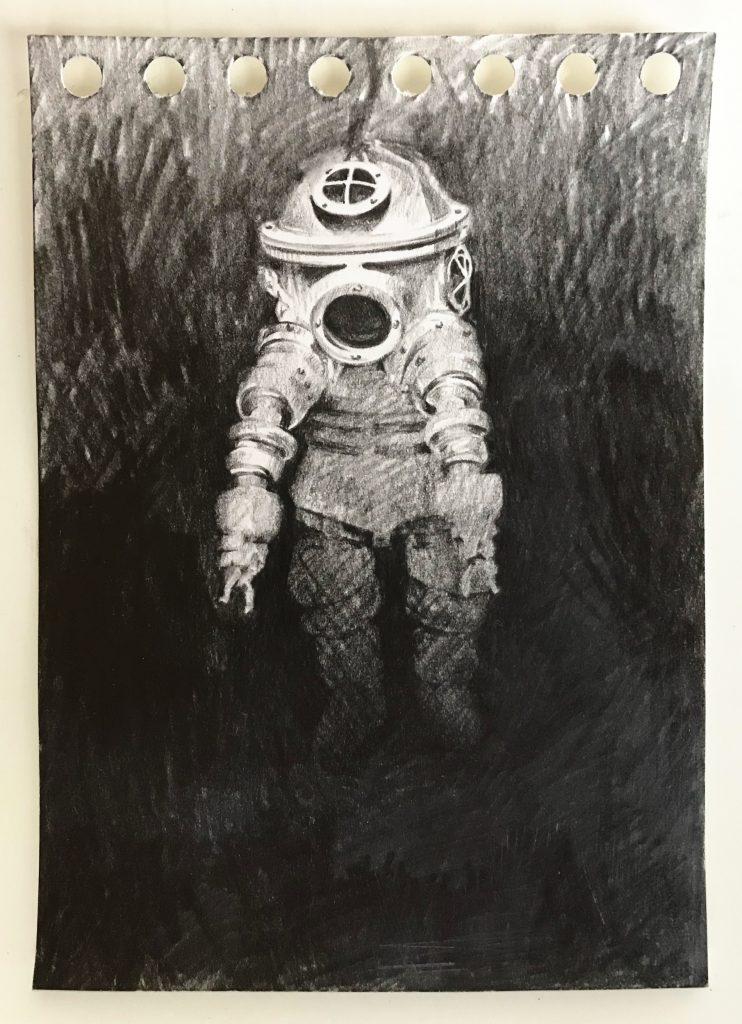 Dorina Csiszár, Szkafander 2, 2020, Bleistift auf Papier, 10,5 x 14,7 cm