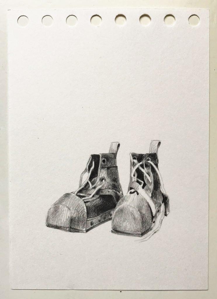 Dorina Csiszár, Szkafander 3, 2020, Bleistift auf Papier, 10,5 x 14,7 cm