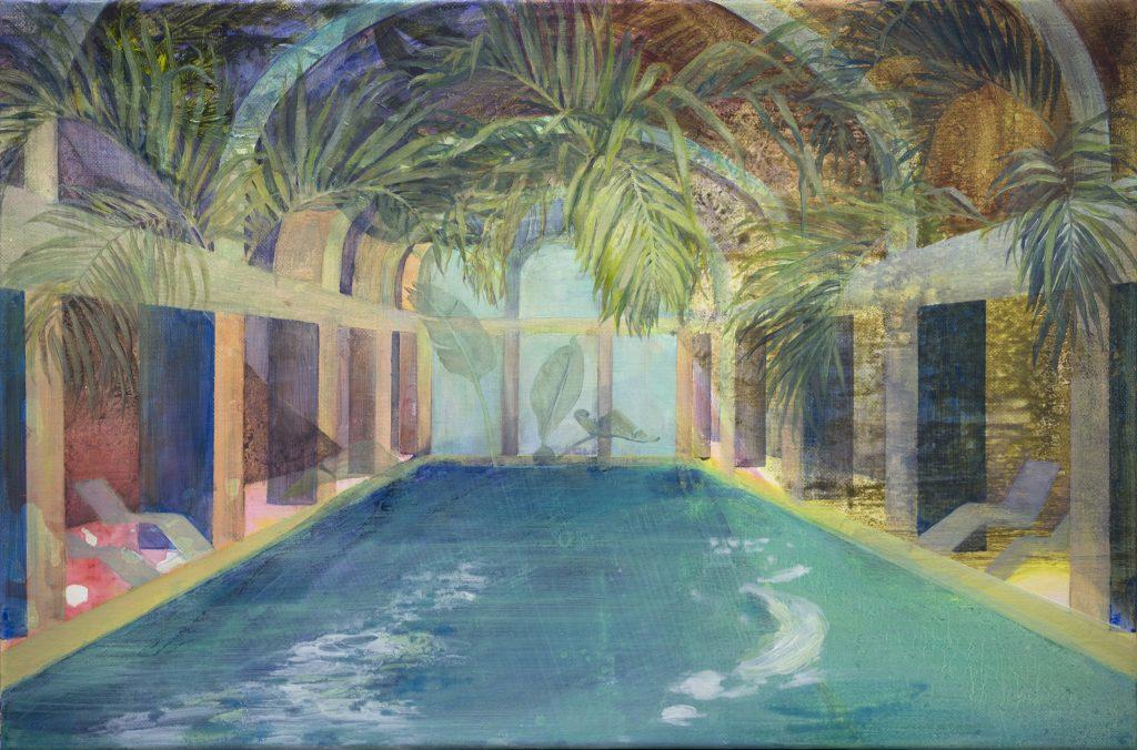 Eun Lee, Swimming Trees, 2019, oil on canvas, 45x60cm