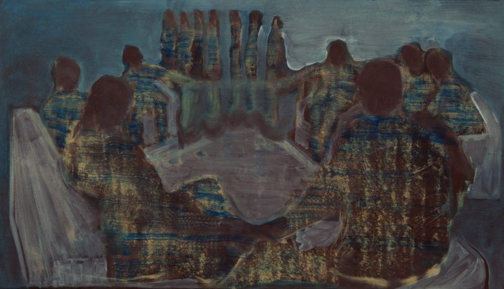 Felix Waldherr, 2019, Runde, Öl auf Leinen, 160 x 90 cm