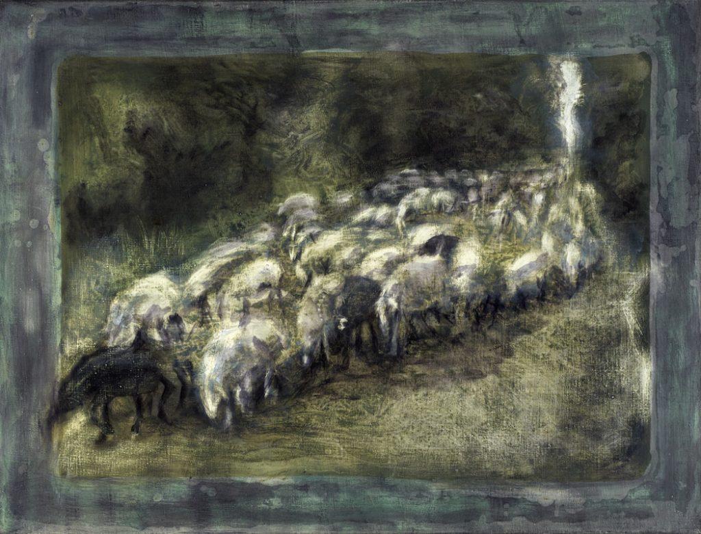 Felix Waldherr, Schafe (grün), Öl auf Leinen, 77 x 55 cm