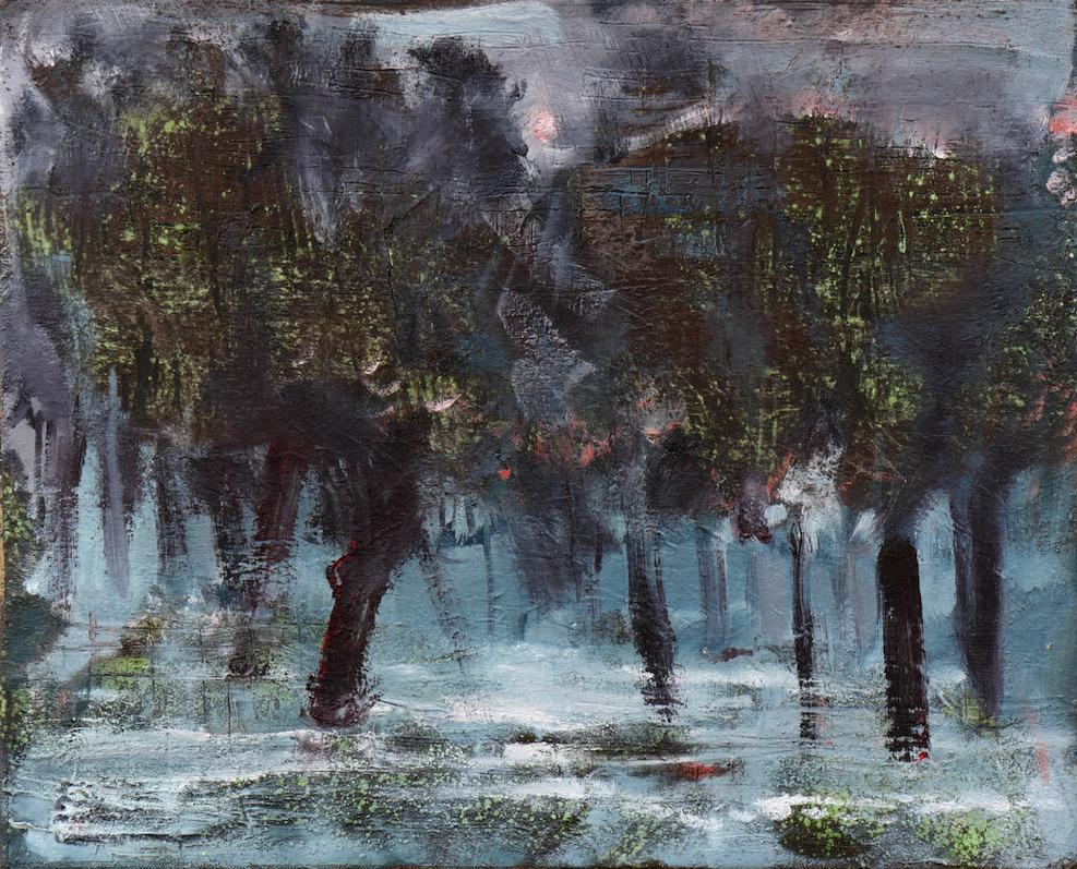 Felix Waldherr, Überschwemmung, 2015, Öl und Pigment auf Papier, montiert auf Leinwand, 55 x 46 cm