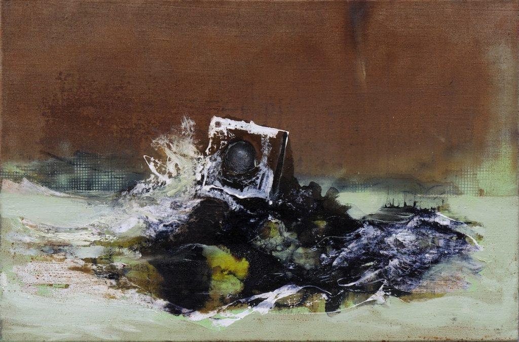 Felix Waldherr, Waschmaschine, 2014, Mischtechnik auf Leinen, 76 x 46 cm