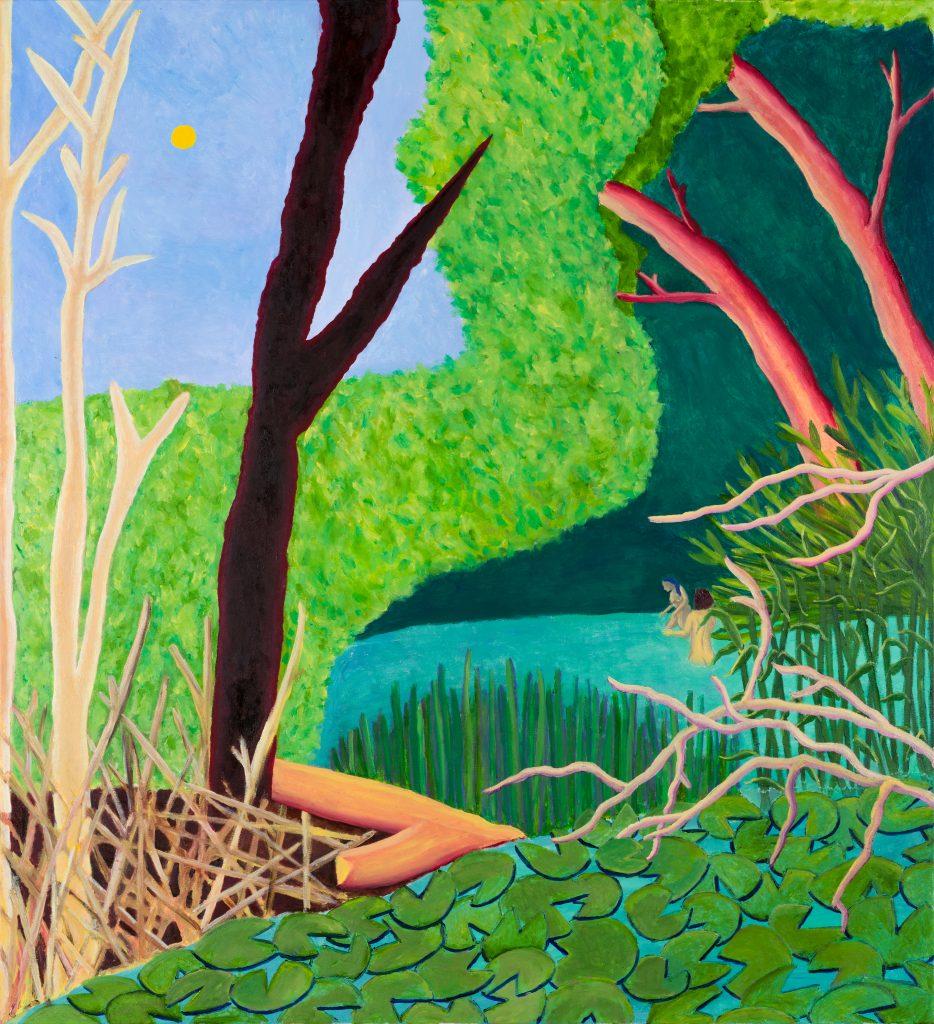 Jimmy Vuong, DA WO DIE MÄDELS BADEN, 2020, Öl auf Leinwand, 160 x 146 cm