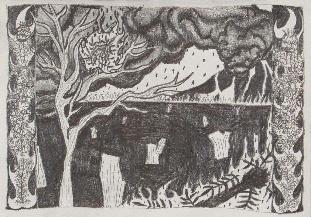 Jimmy Vuong, IT FLAMES, BECOMING ASH, 2021, Bleistift auf Papier, 25 x 15 cm