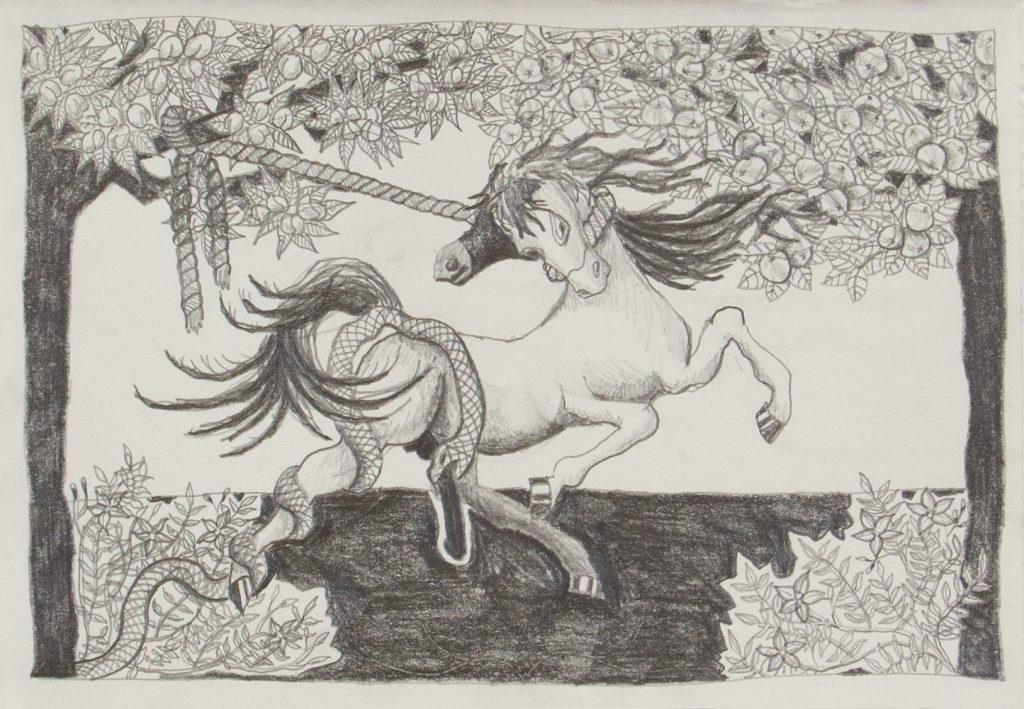 Jimmy Vuong, THAT HORSE NEEDS A REIN, 2021, Bleistift auf Papier, 25 x 15 cm