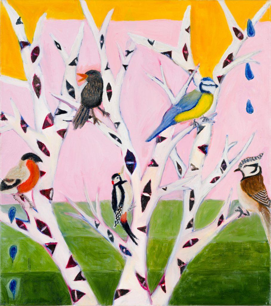 Jimmy Vuong, WINTER VÖGEL, 2020, Öl auf Leinwand, 67 x 59 cm