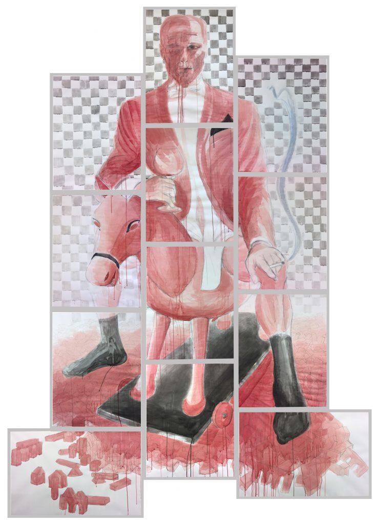 """Gigolo"" (2021), Acryltinte & Tusche auf Papier, 12-teilig, 430 x 270 cm"
