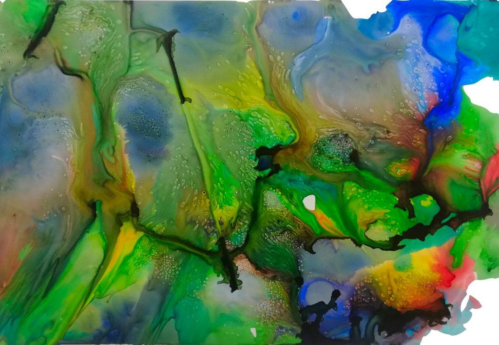 Lina Killinger, o.T., 2020, Tusche und Zucker auf Steinpapier, 70 x 100 cm