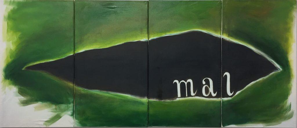 """""""Mal"""" (2020), Öl auf Leintuch, 4-teilig, 76 x 180 cm"""