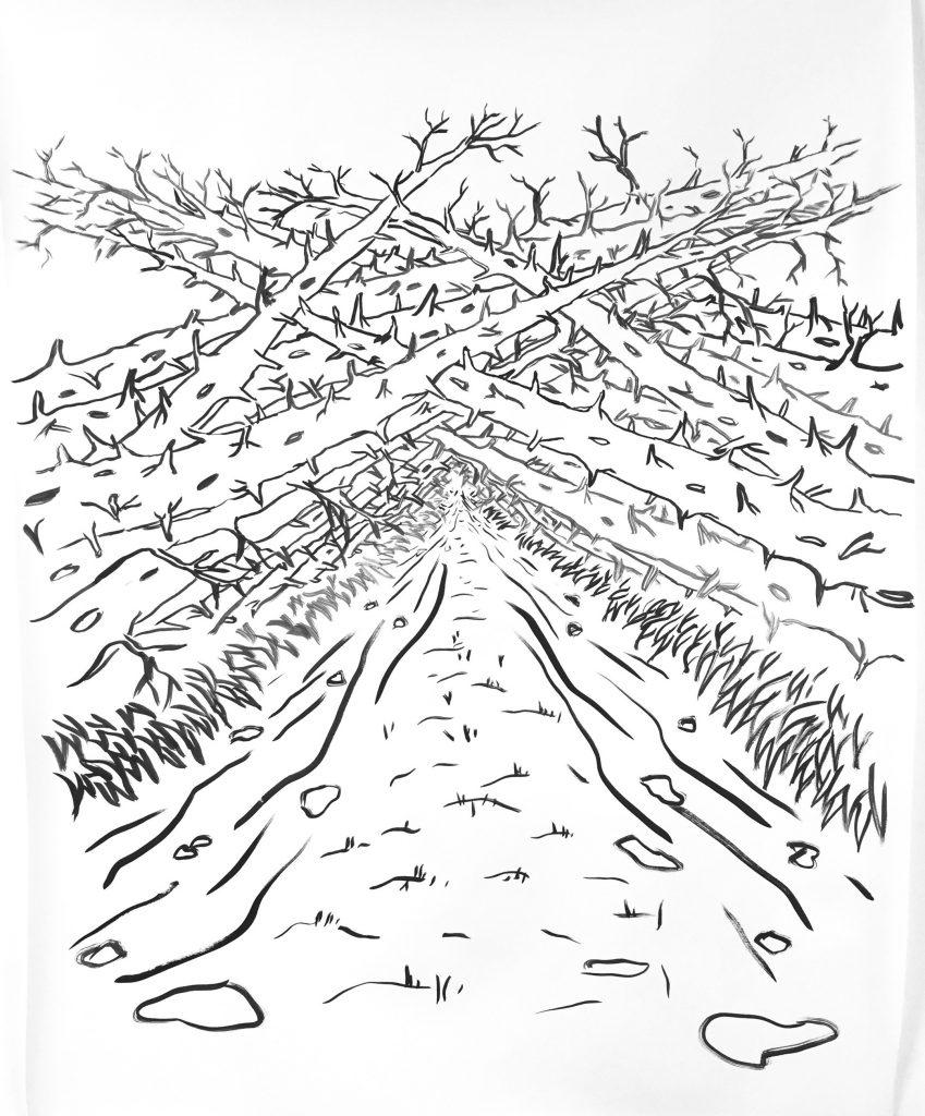 """""""Nature Itself"""" (2020), Tusche auf Papier, 120 x 100 cm"""