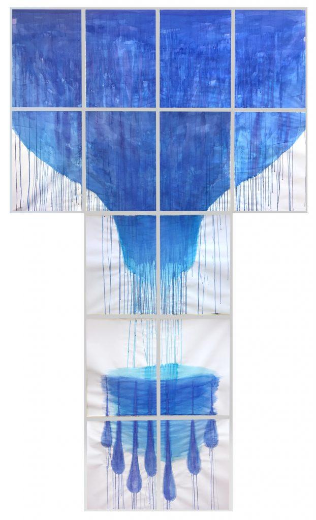 """Pleurer"" (2021), Acryltinte auf Papier, 14-teilig, 500 x 300 cm"