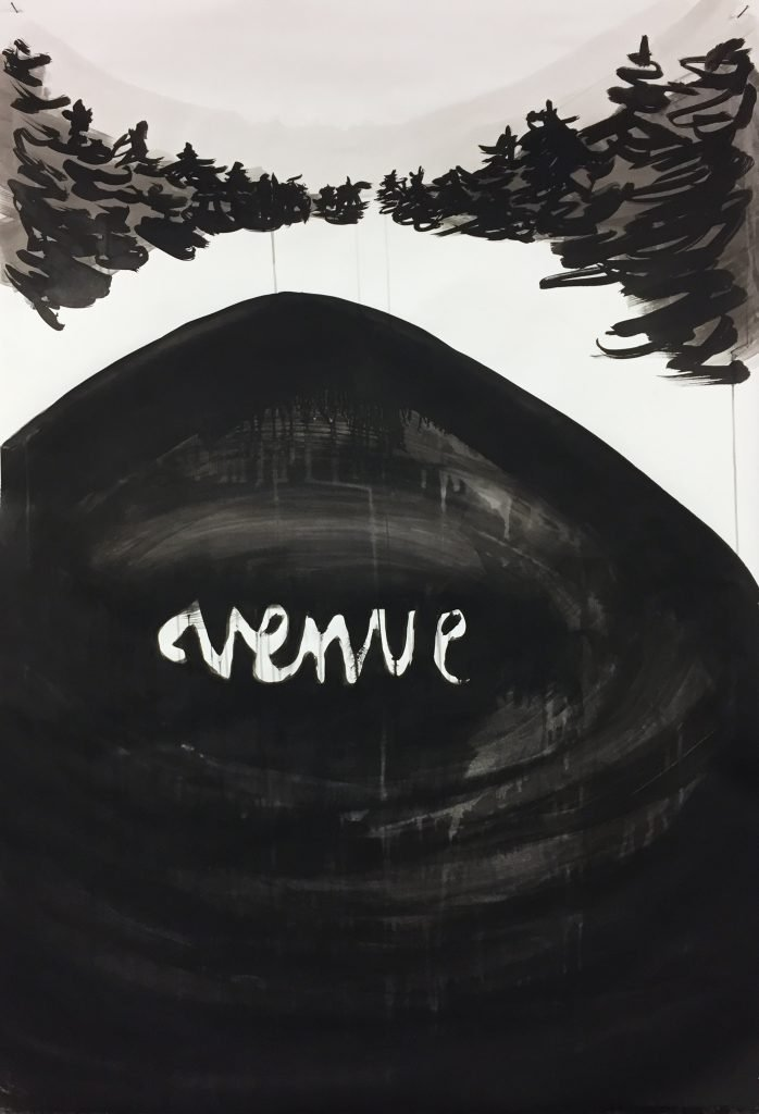 """Venue"" (2021), Tusche auf Papier, 150 x 80 cm"