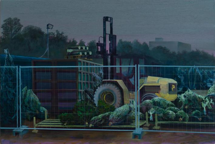 Fjodor Krasnikow, Die Nacht, 2019, Öl auf recycelter Holzplatte, 53,5x80 cm