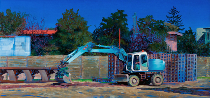 Fjodor Krasnikow, Kunstpark, 2019, Öl auf recycelter Holzplatte, 28x55 cm