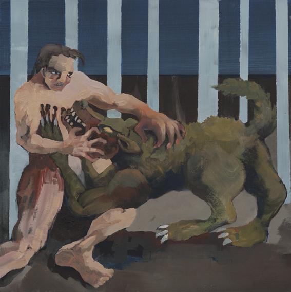 Fjodor Krasnikow, Wolf und Mann, 2017, Öl auf recycelter Holzplatte,30 cm x 30 cm
