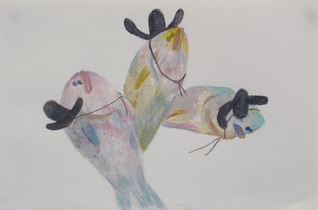 Hyun Jeong, 2020, Fish Servent, color pencil on paper, 21.6x14.2 cm