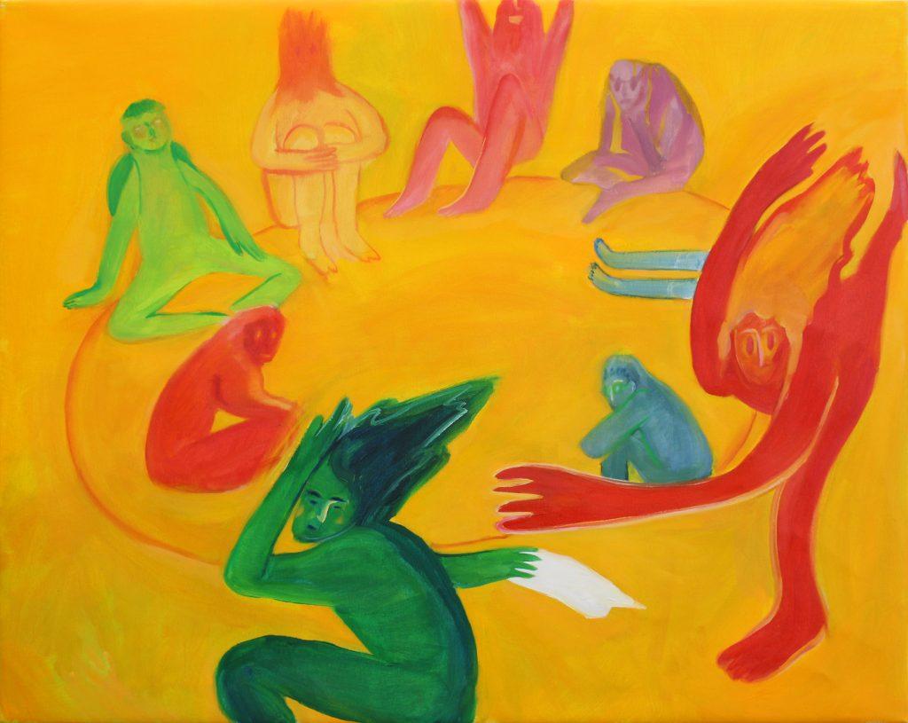 Hyun Jeong, 2021, Towel Duck-Duck-Goose, oil on canvas, 80x100 cm