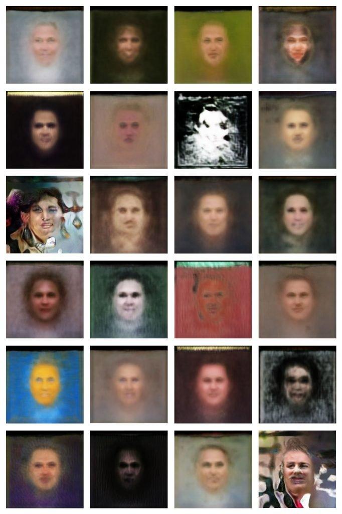 Tools 02, 2021, mittelskünstlicher Intelligenz generierte Gesichter
