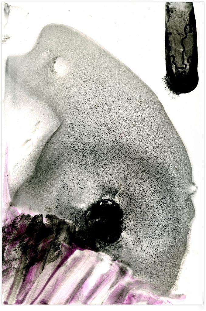 Würmer III, 2020, Pigment und synthetisches Bindemittel auf Steinpapier