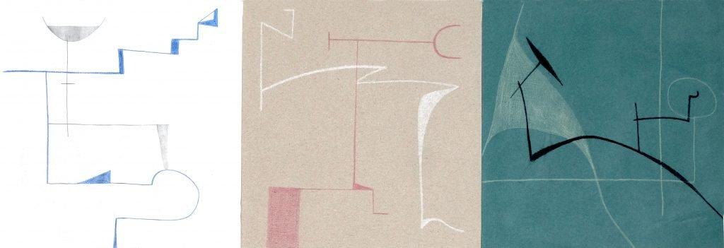 Luis Traxler, 1, 2020, Buntstift auf ungleichartiges Papier, 20x80cm