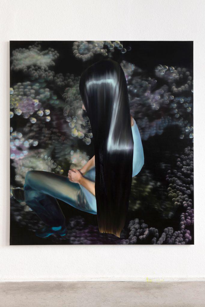 Rute Merk, Zivile, 2021, Öl auf Leinwand, 200 × 180 cm