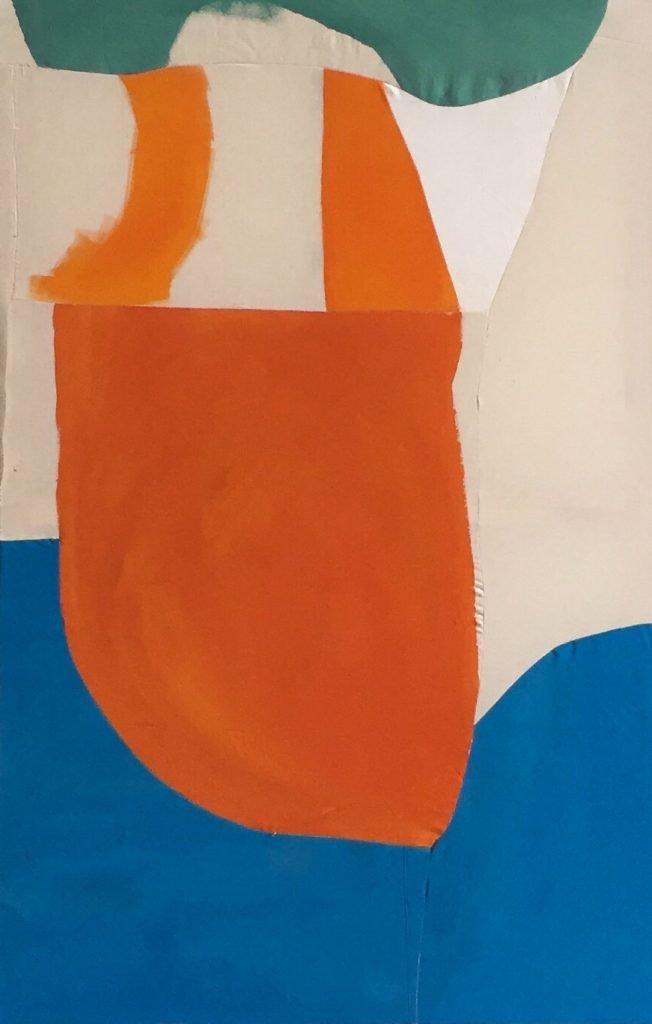 Tabata von der Locht, o.T., 2021, Pigment auf vernähter Leinwand, 90 x 140 cm