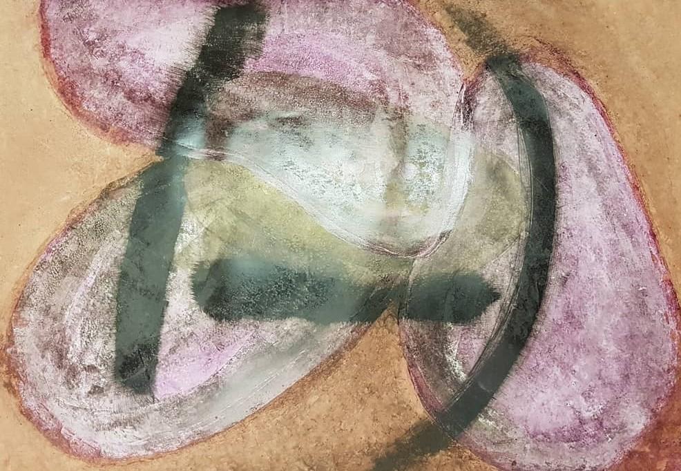 Stefan Krausen, o. T., 2021, Öl, Tusche und Tinte auf Steinpapier, 70×100cm