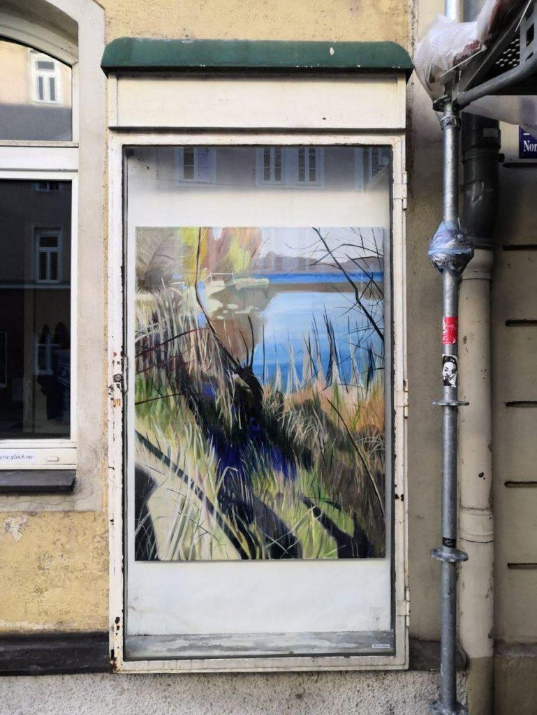 Burcu Bilgiç, Mavi, 2020 Öl auf Leinwand, 90 x 120cm, Ausstellungaussicht Ille Galerie_Part II Barerstraße 77